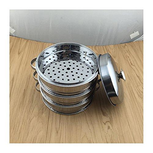 Edelstahl gedämpft Bambus Korb Steamer Chinesische Dessert Herd Set gedämpft Klöße 20cm 1/3, Edelstahl, 20cm 3pc
