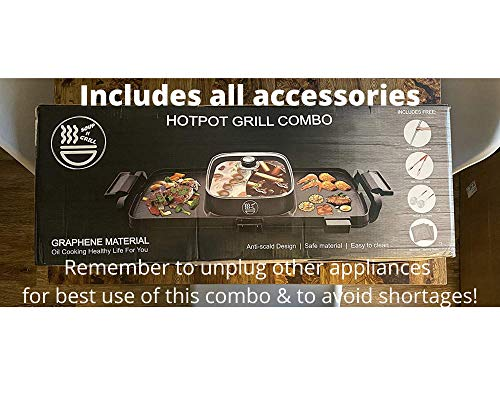 Soup N Grill Hotpot Grill Combo, Indoor Korean BBQ, Shabu Shabu Electric Hot Pot with Divider, Portable with Free Strainer Scoops, Extra Long Chopsticks, Tongs, Cloths, Smokeless Grill