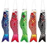 Sookg Karpfenfahne Windsack Karpfen Bunte japanische Art Mini Koinobori Geschenke Fisch Wind Streamer Home Party Dekorationen5-teiliges Set