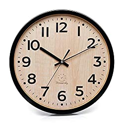 DreamSky 12  Large Wall Clock, Battery Operated Non-Ticking Quartz Analogy Wall Clocks for Kitchen Bedroom Living Room.
