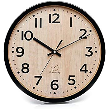 Amazon Com Wood Wall Clock 10 Inch Silent Non Ticking Battery Operated Round Wall Clock Whisper Quiet Decorative Wall Clock With Branch Shaped Hands For Living Room Bedroom Kids Room Kitchen Office 10in Home