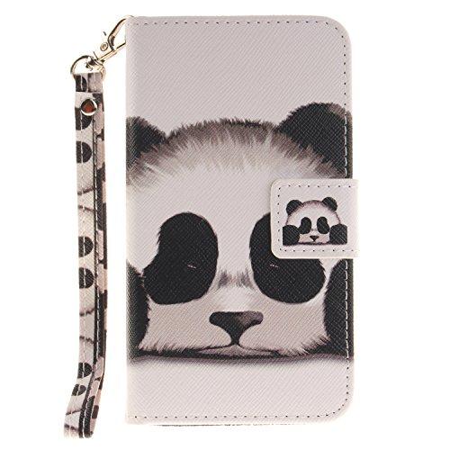 ISAKEN Compatibile con Samsung Galaxy Core Prime G360 Cover [PU Pelle] [Shock-Absorption] Portafoglio Custodia, Bookstyle Wallet Flip Cover con Supporto di Stand/Strap/Carte Slot - Panda Head
