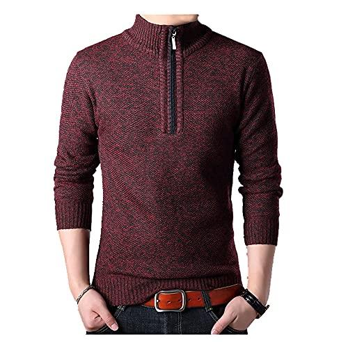 Los hombres Suéteres Stand Collar Otoño Invierno Cremallera Pullover Suéteres Hombre Casual Prendas de Punto Slim Fit Tops Hombres