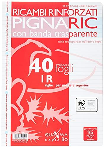 Pigna 02194591R, Ricambio con Banda Rinforzata, Rigatura 1R, righe per medie e superiori, Carta 80g/mq, formato A4 (21 x 29.7 cm.), Pacco da 40 Fogli
