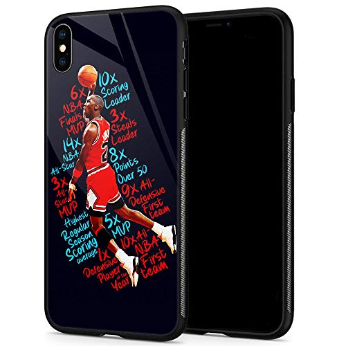 Lxury Design iPhone XR Case, Basketball Player 1034 Pattern,9H Tempered Glass iPhone XR Cases for Men Women Fans TPU Shock Protective Anti-Scratch Cover Case for iPhone XR