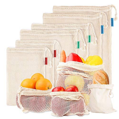 Ommani Wiederverwendbare Obst und Gemüsebeutel, Obstbeutel Baumwolle 100% Gemüsenetz Umweltfreundliche Waschbare Obst und Gemüsenetze mit Kordelzug Gewichtsangabe 7er Set (2*L, 2*M, 2*S, 1*Brotbeutel)