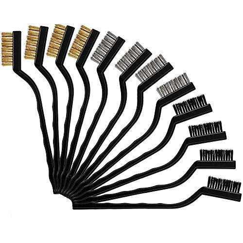 ワイヤーブラシ 12本セット ワイヤブラシ サビ取り 金属ブラシ 真鍮・ステンレス・ナイロン ブラシ 掃除 by Huazontom