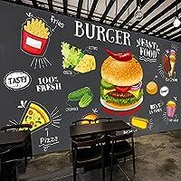 写真壁紙レトロ黒板壁フライドチキンハンバーガーフードファストバックグラウンド壁装レストランカフェ壁画-400Cmx280Cm