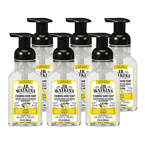 JR Watkins Foaming Hand Soap Lemon Scented Foam Handsoap for Bathroom or Kitchen USA Made and Cruelty Free 9 fl oz  Pack Of 6
