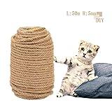 Yisscen Corda per alberi per gatti, corda in sisal naturale, corda in sisal multiuso, corda per tiragraffi, fasci da giardino, Per l'artigianato fai-da-te (5 mm * 50 m)