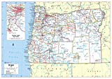 Cool Owl Maps Oregon State Wall Map Poster Rolled (Laminated 34x24)