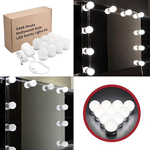 Geek-House Hollywood Style LED Vanity Mirror Lights Kit 10 Bright Bulbs with Dimmer, White Light for Makeup Table Set, Mirror Not Included