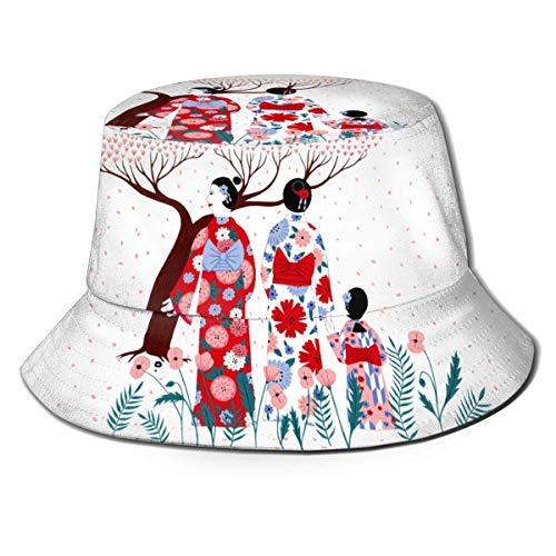 ENZOOIHUI Japanische Kirschblüte Eimer Hut Unisex Sonnenhut gedruckt Fisherman Packable Travel Hat Mode Outdoor Hut
