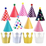 KATOOM 31 Pezzi Cappello da Festa di Compleanno,Cappellino in Carta con Corona con Pom e Fascia Elastica per Bambini Festa di Compleanno Decorazioni per Foto