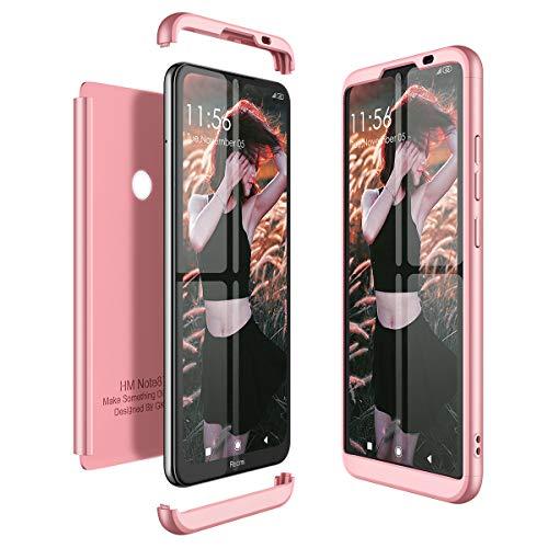 CE-Link per Cover Xiaomi Redmi Note 8T Custodia 360 Gradi Full Body Protezione Silicone Rigida Snap On Struttura 3 in 1 Antishock e Antiurto Case - Oro Rosa