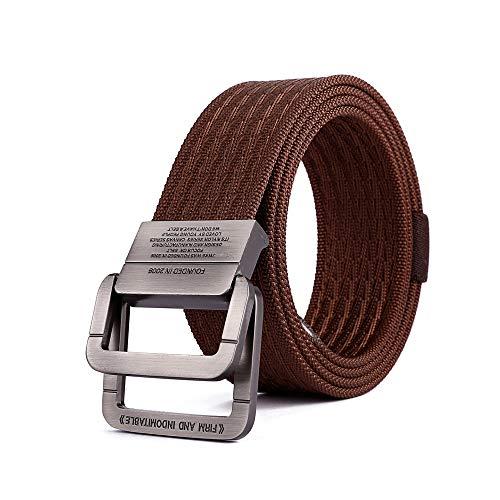 Cinturón de lona de nylon, cinturón de hebilla de doble bucle para hombres, cinturón de lona (125 cm)