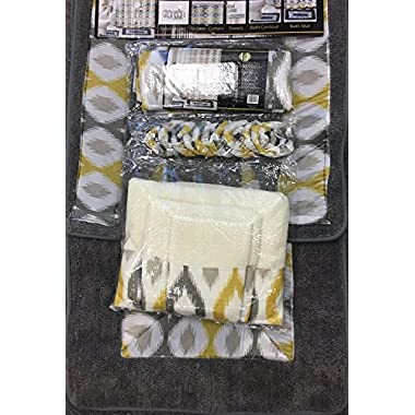 18 Piece Bath Rug Silver Grey gold print bathroom rugs shower curtain/rings and Towels sets-Keena Yellow