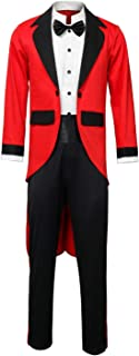 Adult Men Kids PT Barnum Red Circus Ring Master Ringmaster Showman Costume Tailcoat Jacket Outfit