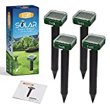 Solar Mole Repellent Ultrasonic Set of 4 Waterproof Gopher Repellent Ultrasonic Solar Powered Rodent Repeller with Built-in Rechargeable Battery - Potent and Chemical Free Gopher Repeller - Green