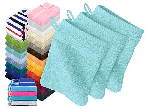 Dyckhoff Traumhaft weiche Bio-Handtuchserie - erhältlich in 22 modischen Unifarben in 7 verschiedenen Größen, sowie 7 Streifen-Variationen, 3er-Pack Waschhandschuhe 16 x 21 cm, türkis