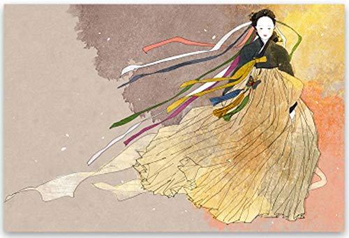Geiqianjiumai Klassieke high-definition canvas print olie schilderij hanbok kunst poster muur kunst foto Koreaanse elegante godin frameloze schilderij