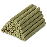 25 PCS Natural Timothy Hay Sticks Chinchilla Chew Toys, Timothy Grass Chew Sticks for Chinchilla Guinea Pig Hamster Rabbit Gerbil Parrot Bunny and Other Small Animals