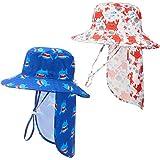2 Piezas Sombreros de Sol de Bebé Sombrero de Playa de Verano Ajustable de ala Ancha Sombrero de Cubo Deportes al Aire Libre con Solapa de Cuello Removible (48 cm/ 18,9 Pulgadas)