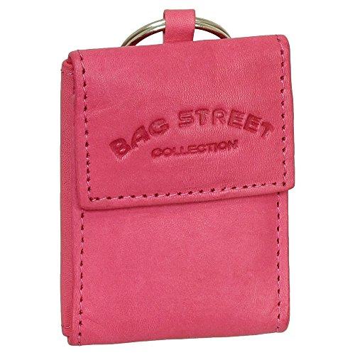 Mini Geldbörse mit Geldscheinfach und Schlüsselanhänger echt Leder Farbe pink