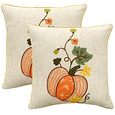 Grelucgo Set of 2 Elegant Thanksgiving Holiday Cushion Cover Pillow Case, Square 18x18 Inch