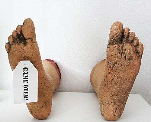 Leichenfüße Halloween lebensechte Horror Deko abgetrennte Füße Game Over Tag am rechten Zeh