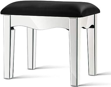 MODAA High-Shine Finish Vanity Stool, Modern Mirrored Glass Style Makeup Dressing Stool Padded Bench Upholstered Makeup Chair