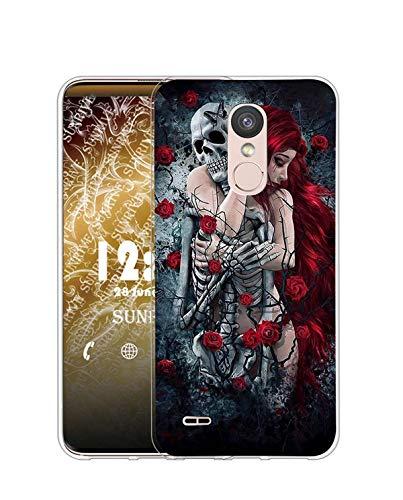 Sunrive Funda Compatible con LG K8 2017/K4 2017, Silicona Slim Fit Gel Transparente Carcasa Case Bumper de Impactos y Anti-Arañazos Espalda Cover(Q niña)