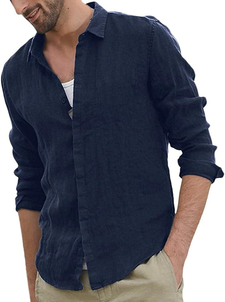 Burband Mens Baggy Linen Ranking TOP6 Henley Shirts Down Max 73% OFF Long Button S Casual
