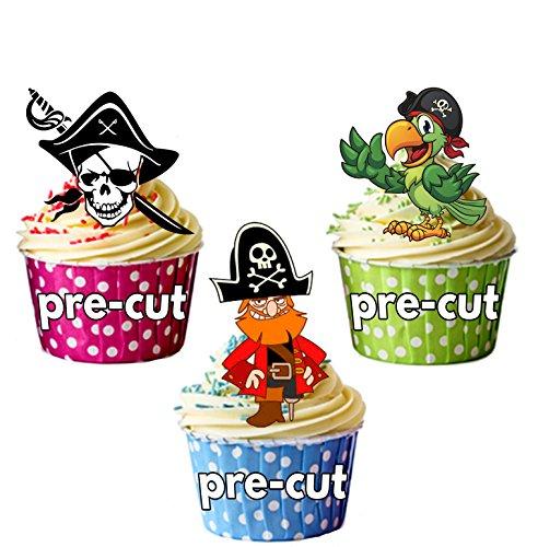 AKGifts Piraten Party Pack, 36Cup Cake Topper, essbar Stand Up Dekorationen