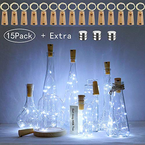 Wine Bottle Lights with Cork,15 Pack Cork Shaped Battery Operated Bottle Light Silver Wire Fairy LED Mini String Lights for DIY Bedroom Party Wedding Indoor Outdoor Decor(Cool White + Extra 9 Battery)