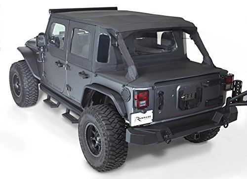 Rampage Products 990135 Trailview Soft Top with Tonneau Style Rear Cover for 2007-2018 Jeep Wrangler JK 4 Door, Black Diamond