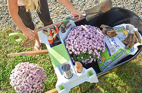 The Burro Buddy, USA Made Lawn/Garden Tray for All 4-6 cu. ft. wheelbarrows. Holds rake, Shovel, Short Handle Tools, Drinks & Water Tight Storage for Phone. Wheelbarrow not Included. Great Gift!