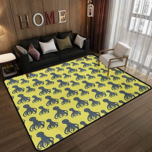 Dormitory Floor mat,Hand Drawn Abstract Marine Underwater Animals on Yellow Background,Non-Slip Decoration of Floor mats for Patio Doors Pale Yellow and Cadet Blue 5.6'x6.6'(170x200cm)