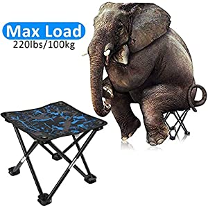 AILLOVCOL Folding Camping Stool,Portable Chair,Mini Portable Folding Stool,Foldable Stool,Fishing Stool for Adults Fishing Hiking Gardening and Beach with Carry Bag(Camouflage)
