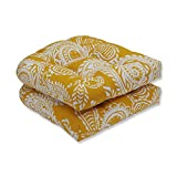 Pillow Perfect 608808 Outdoor/Indoor Addie Egg Yolk Tufted Seat Cushions (Round Back), 19' x 19', Yellow, 2 Pack