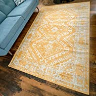 Design: This ochre yellow rug features a designer inspired traditional design; adorned with a fun diamond trellis pattern and detailed with a boho distressed finish Colour: This Aztec rug features and Ochre Yellow and off-white colour palette Materia...