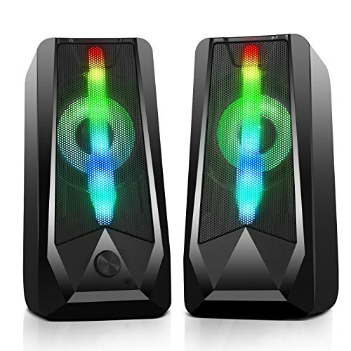 PC Gaming Speakers 16W 2.0 Deep Bass USB Wired RGB Computer Speaker with Enhanced Stereo Colorful LED Light, Dual-Channel Desktop Speakers for Tablet Computer Laptop Smartphones MP4 MP3 (8Wx2)
