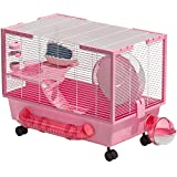 Hamster Cage Large Hamster Habitats Small Animal Cage for Syrian Hamster (Pink)