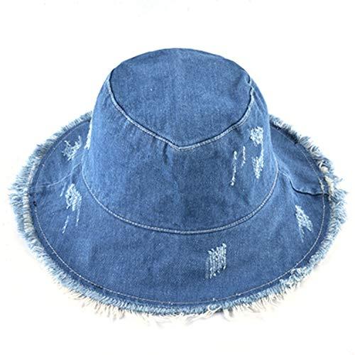 Sombreros de verano para mujer de pescador gorra de mezclilla lavada Sombrero de las señoras de ala ancha borla gorras de playa, Azul, Talla única