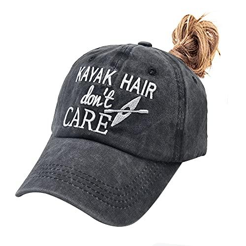 Waldeal Women's Kayak Hair Don't Care Embroidered Ponytail Hat, Adjustable Dad Hat Washed Baseball Cap Black