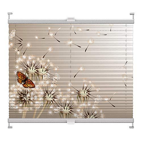 Plissee mit Motiv 4006 nach Maß Schrauben in Glasleisten Klemmen auf Fensterrahmen Digitaldruck Sichtschutz lichtdurchlässig fest verspanntes Jalousie Rollo Fenster innen Breite 100-124 Höhe 101-124cm