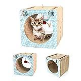 Youyababay para Gatos Animales Caja de cartón con 4 Postes Verticales para rascar Verticales para Gatos Campana para Gatos Incluye Juguetes Catnip Gratis