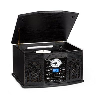 DLITIME Tocadiscos con Am&FM Radio/USB/RCA/AUX/CD/