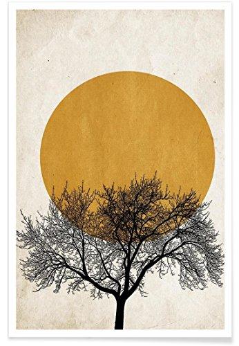 """JUNIQE® Bäume Poster 20x30cm - Design """"Wintermorgen"""" entworfen von Kubistika"""
