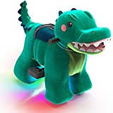 HOVER HEART Rechargeable 6V/7A Plush Animal Ride On Toy with Bottom LED Light for Kids (3~7 Years Old) with Safety Belt (Crocodile)